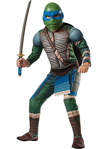 Rubies Teenage Mutant Ninja Turtles Deluxe Muscle-Chest Leonardo Costume, Child Large -