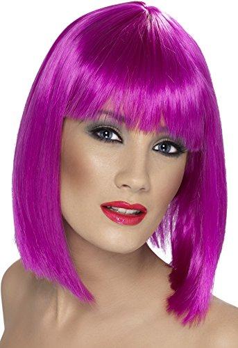 Smiffy's Women's Short Blunt Cut Neon Purple Wig with Bangs, One Size, Glam Wig, (Short Neon Purple Wig)