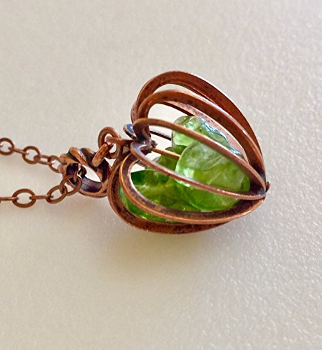 Peridot Necklace, August Birthstone, Deep Yellow Green Color, Vintage Copper Cage Pendant, Genuine Peridot Nuggets, Gemstone Cage.