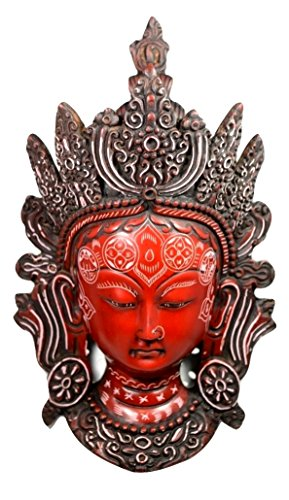 Hand Carved Buddhist Tara Mask Wall-Hanging Sculpture Face Copper Wall Sculpture