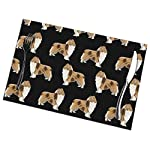 Gao808yuniqi Rough Collie Dog 3D Printed Tableware Mat,Placemats Set of 6,18 X 12,Snack Placemats,Beverage Placemats,Party Placemats for Dining Table,Kitchen Drink Placemat 6