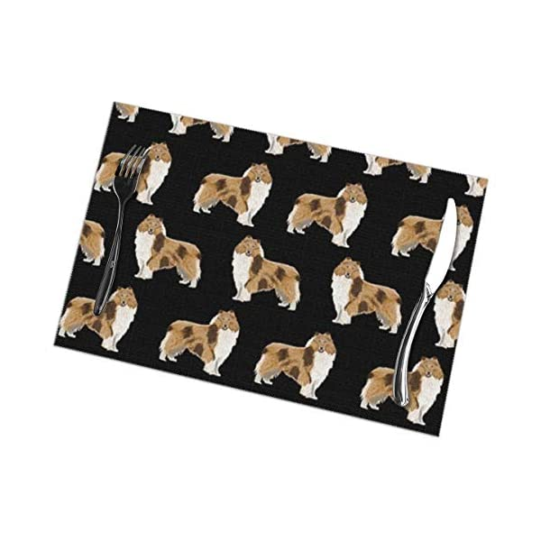 Gao808yuniqi Rough Collie Dog 3D Printed Tableware Mat,Placemats Set of 6,18 X 12,Snack Placemats,Beverage Placemats,Party Placemats for Dining Table,Kitchen Drink Placemat 1