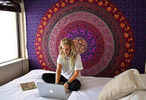 Indian-hippie-handmade Bohemian-psychedelic Multi-color-mandala Wall-hanging-tapestry-nature Queen-size-large-84x90