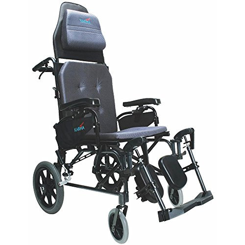 Karman Healthcare MVP502TP-18 Ergonomic V-Seat Reclining Wheelchair, Diamond Black, 14 Inches Rear Wheels and 18 Inches Seat Width