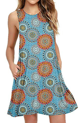 BISHUIGE Women's Floral Summer Work Casual T Shirt Dresses Sleeveless Midi Beach Dress with Pockets Multiple Blue XS