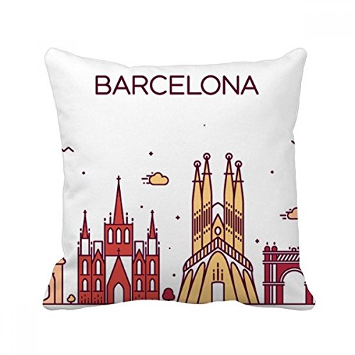 Barcelona Spain Flat Landmark Pattern Square Throw Pillow Insert Cushion Cover Home Sofa Decor Gift - Barcelona Square