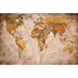 Poster used look – wall picture decoration Globe Continents Atlas World Map Earth Geography retro old school vintage map   Wallposter Photoposter wall mural wall decor by GREAT ART