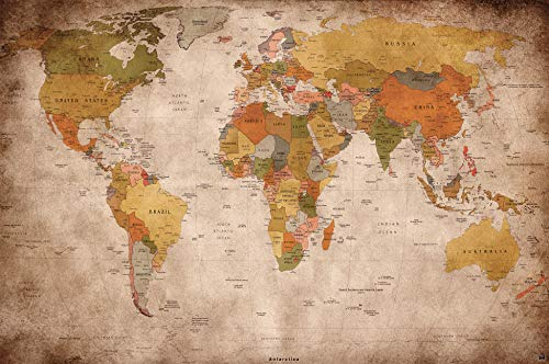 Wallpaper used look - wall picture decoration Globe Continents Atlas World Map Earth Geography retro old school vintage map poster wall decor by GREAT ART (132.3 Inch x 93.7 Inch/336 x 238 cm)