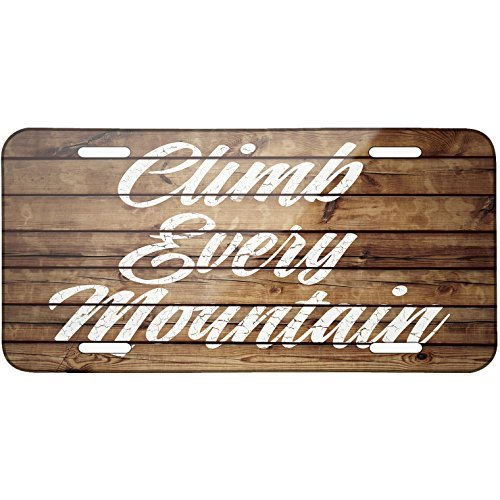 Ap1 Ram - Painted Wood Climb Every Mountain Metal License Plate 6X12 Inch