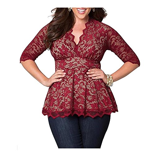 Darkey Wang Womens Plus Size(XL-5XL) V-neck Sleeved Floral Lace Tunic Peasant Tops - Blog Maverick Men