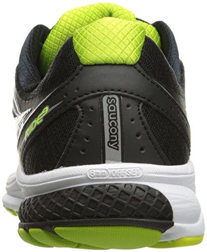 Saucony Men's Ride 9 Running Shoes Multicolour (Silver/Black/Lime) rbbrcqZz