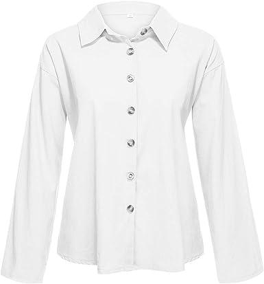 Sylar Camisa Mujer Manga Larga Blusa De Mujer Color Sólido Formal Oficina Trabajo Uniforme Señoras Casual Tops para Mujer Suelto Camisetas De Algodón Y Lino Otoño: Amazon.es: Ropa y accesorios