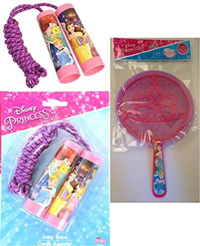[Kids Spring Summer Fun Backyard Outdoor Playtime SET OF 2 Disney Princess Beauty and the Beast Cinderella Little Mermaid Bubble Wand and Jump] (Disney Jasmine Wand)
