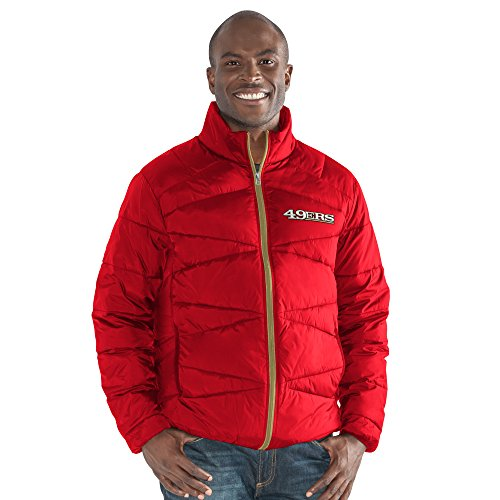 (G-III Sports NFL San Francisco 49ers The Blitz Full Zip Packable Jacket, Large, Red)