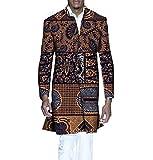 Abetteric Men Jacket Printed Jacket Dashiki Africa 1 Button Windbreakers 12 L