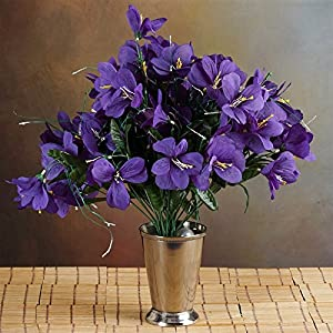 144 Wholesale Artificial Silk Amaryllis Flowers Wedding Vase Centerpiece Decor - Purple 25