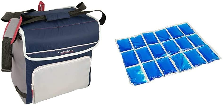 Campingaz Fold`N Cool Nevera Flexible, 30 l, Unisex, Azul Marino/Gris + Flexi Freez Acumulador Frio, Pack Mediano, Unisex, Azul, Medium