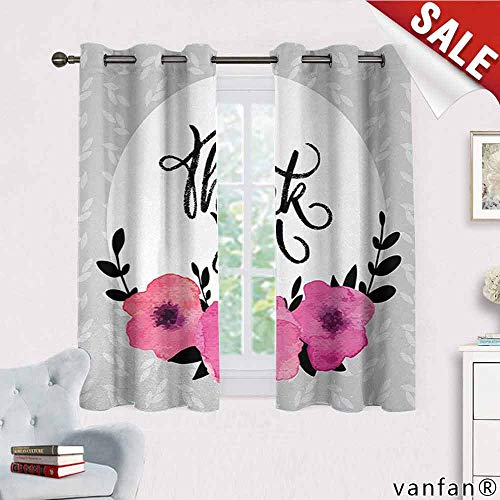 Big datastore Modern, Curtains,Rounded Thank You Quote Above The Purple Flowers Behind Leaf Ivy Background, Curtains to Block Out Heat, W63 x L45 Grey and White