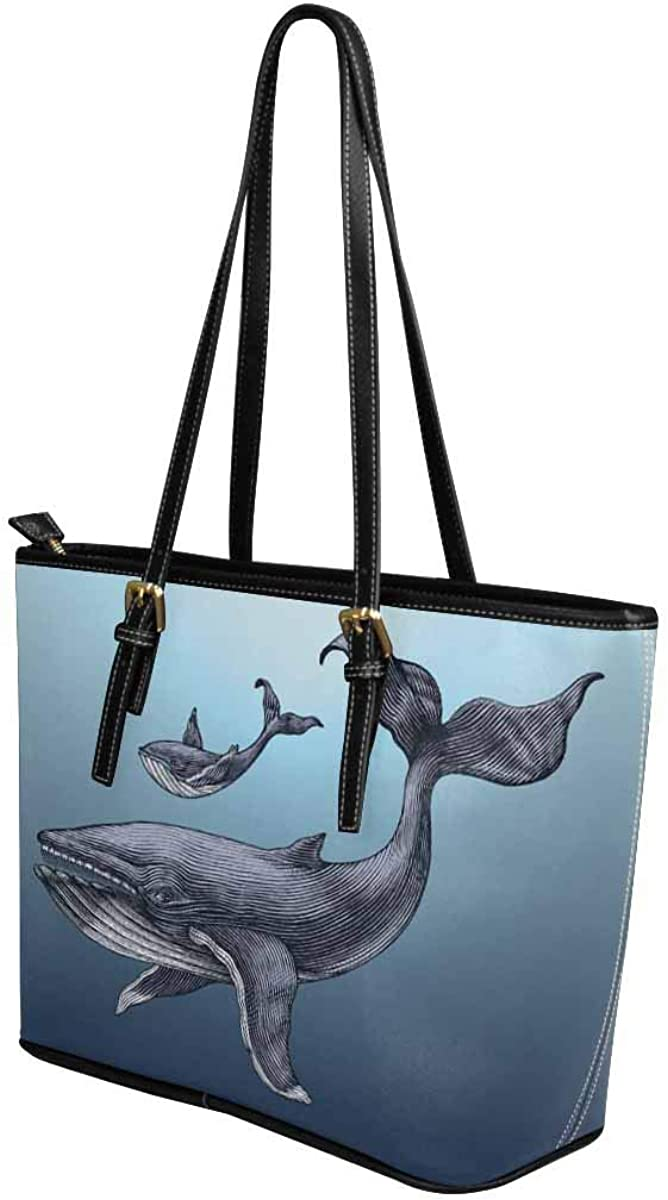 InterestPrint Top Handle Satchel HandBags Shoulder Bags Tote Bags Purse Marine with Funny Whale