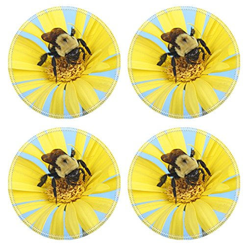 Impatiens Accent - Liili Round Coasters Non-Slip Natural Rubber Desk Pads IMAGE ID: 19681541 Common eastern bumble bee Bombus impatiens gathering nector on a gerbera daisy