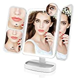 mirror Easehold 21Pcs Led Vanity Make Up Tri-Fold with 38Pcs Lights Ultra-Thin 2x/5x/10x Magnifying 180 Degree Free Rotation Table Countertop Cosmetic Bathroom Mirror(White)