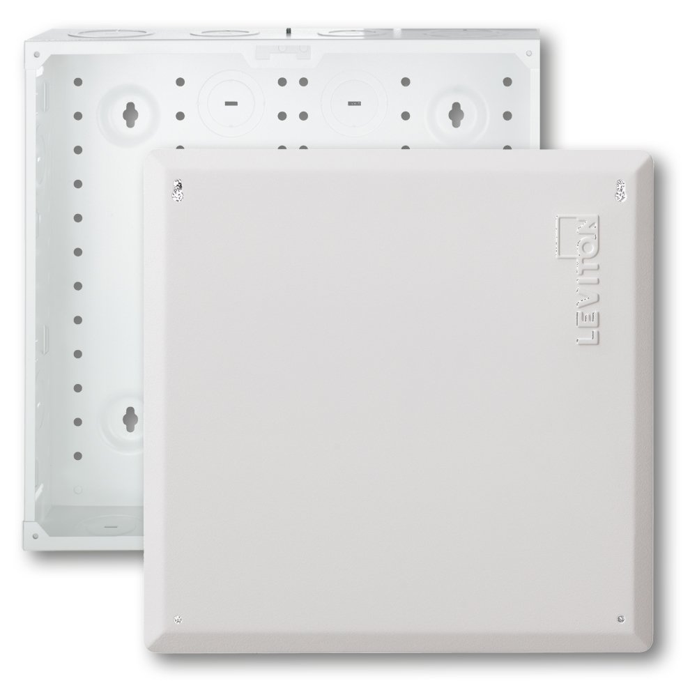 Leviton 47605-140 14'' Structured Media Enclosure and Flush Mount Cover, Empty, White