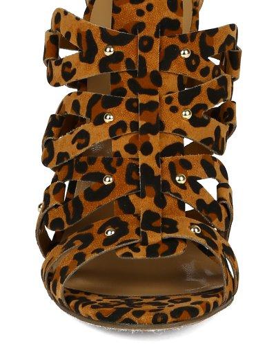 Breckelle Bk36 Sandalo Con Tacco A Spillo Donna In Camoscio Con Borchie Aperte - Leopardato