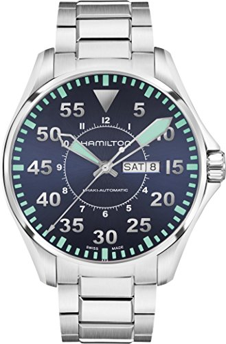 H64715145 Hamilton KHAKI AVIATION PILOT AUTO Mens Watch Black Dial SS Bracelet (Auto Khaki Aviation Hamilton)