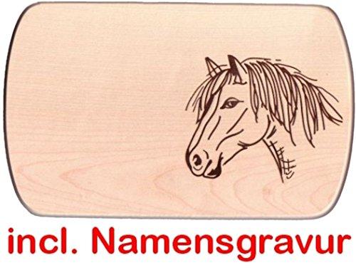 Frühstücksbrett Brotzeitbrett Pferd 24 x 15 cm Holzbrett mit Namensgravur Frühstücksbrettchen Vesperbrettchen Holz