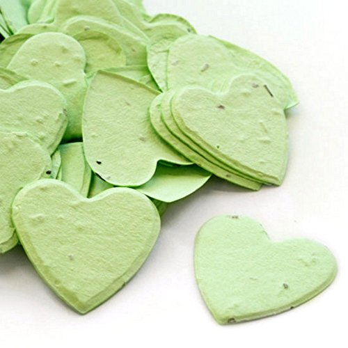 Heart Shaped Plantable Seed Confetti (Green) - 350 pieces/bag