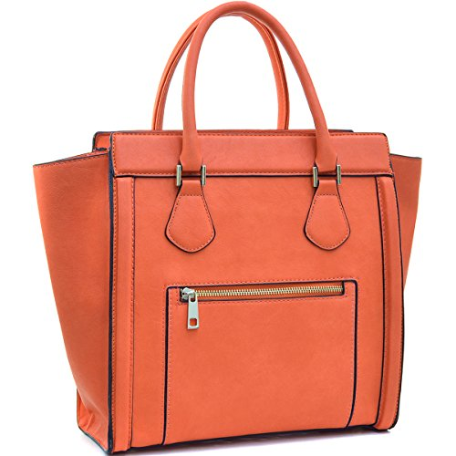 (Dasein Women's Satchel Handbags and Top Handle Purses Shoulder Bags Vegan Leather Tote for Ladies Orange)
