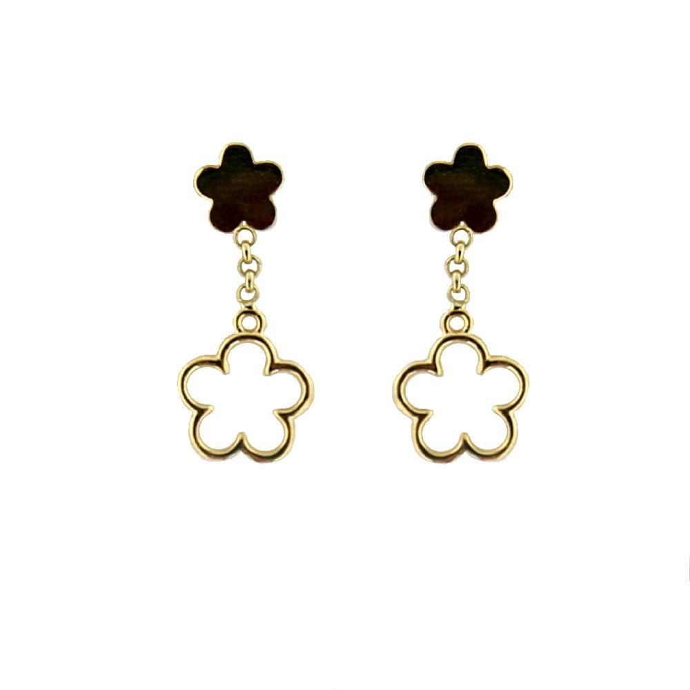 18K Yellow Gold top Polished Flower and Dangle Open Flower Post Earrings 0.75 inch L