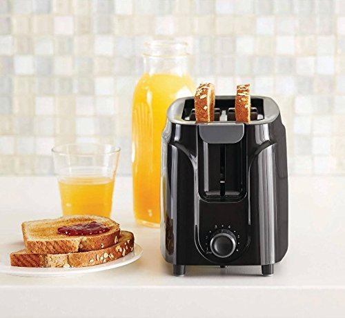 Electric Toaster 750W Mainstays Six-Setting, Black Auto-Shut-Off Kitchen 2 Slice