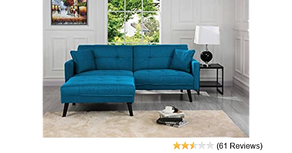 Sofamania Mid-Century Modern Linen Fabric Futon, Small Space Living Room Couch (Blue)