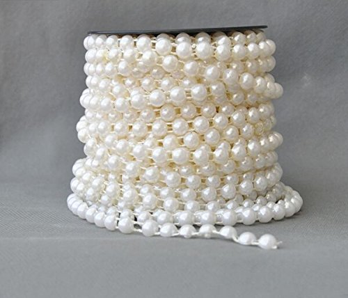 8 Mm Beaded Garland (Joinwin® NEW ARRIVAL IN STOCK!20Meters 8mm half round Pearl Beaded Garland Strands for Wedding Decoration Table Centerpieces Chandelier)