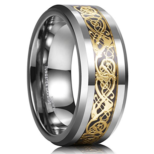 King Will DRAGON 8mm Gold Celtic Dragon Tungsten Carbide Mens Wedding Band Ring Comfort Fit 15