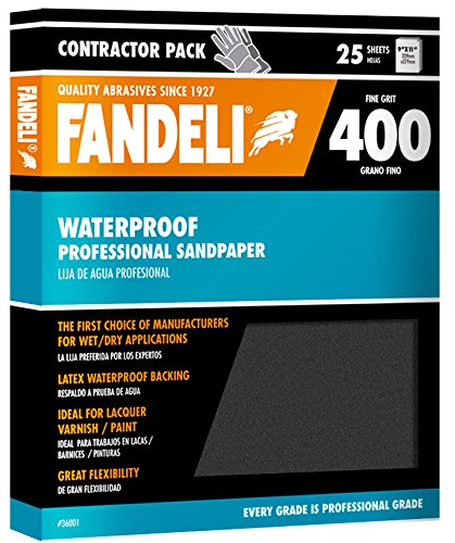 Fandeli 36001 400 Grit Waterproof Sandpaper Sheets, 9''  x 11'', 25-Sheet