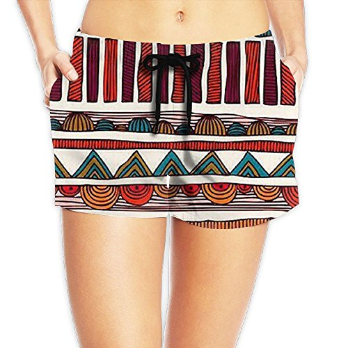 Women's Summer Beach Board Shorts Retro Hand Painted Colorful Lines