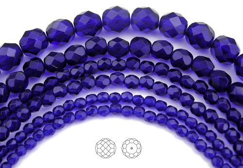 6mm (68) Cobalt Blue, Czech Fire Polished Round Faceted Glass Beads, 16 inch strand (Cut Faceted Glass)