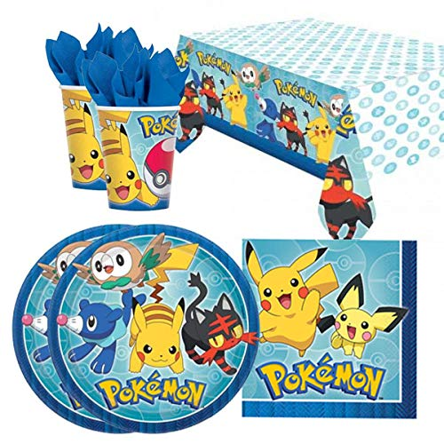 Balloons and Party Pokemon Pikachu & Friends Birthday Party Tableware Pack for 16 -