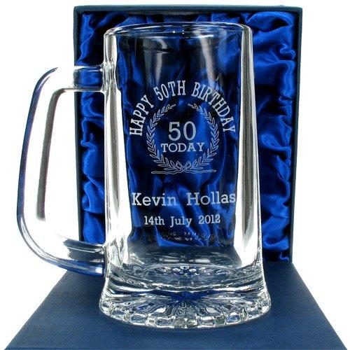50th Birthday Engraved Glass Tankard, personalised 50th Birthday Present for him, Personalised 50th Birthday Beer Tankard Personalised Gift Ideas