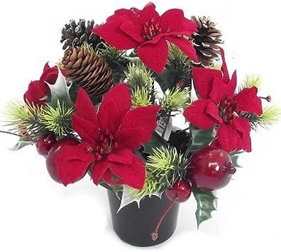 Christmas An Artificial Red Poinsettia Memorial Vase Pot Grave Side Amazon Co Uk Kitchen Home