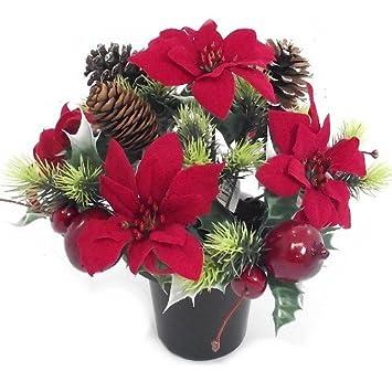 CHRISTMAS - an artificial red poinsettia memorial vase pot - grave ...
