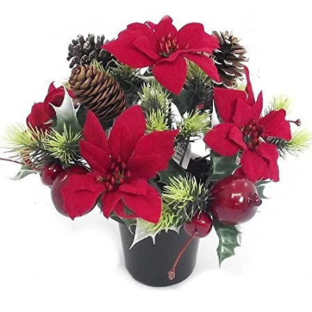 Christmas An Artificial Red Poinsettia Memorial Vase Pot Grave
