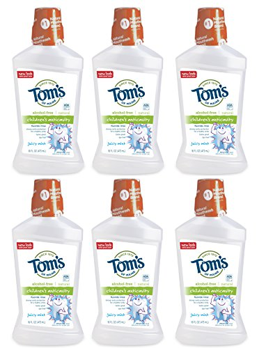 Tom's of Maine Children's Anticavity Fluoride Rinse, Juicy Mint, 16 Ounce ( Pack of 6 ) (Anticavity Of Toms Toothpaste Maine)