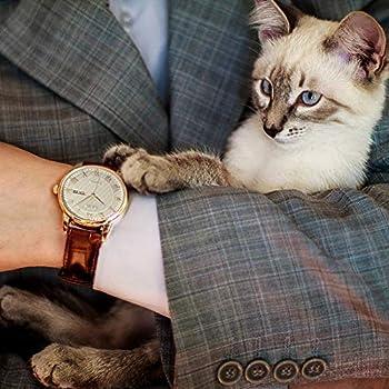 BUREI Classic día y Fecha Unisex Reloj con números Romanos y Negro Dial de Banda marrón (Blanco-marrón): Amazon.es: Relojes