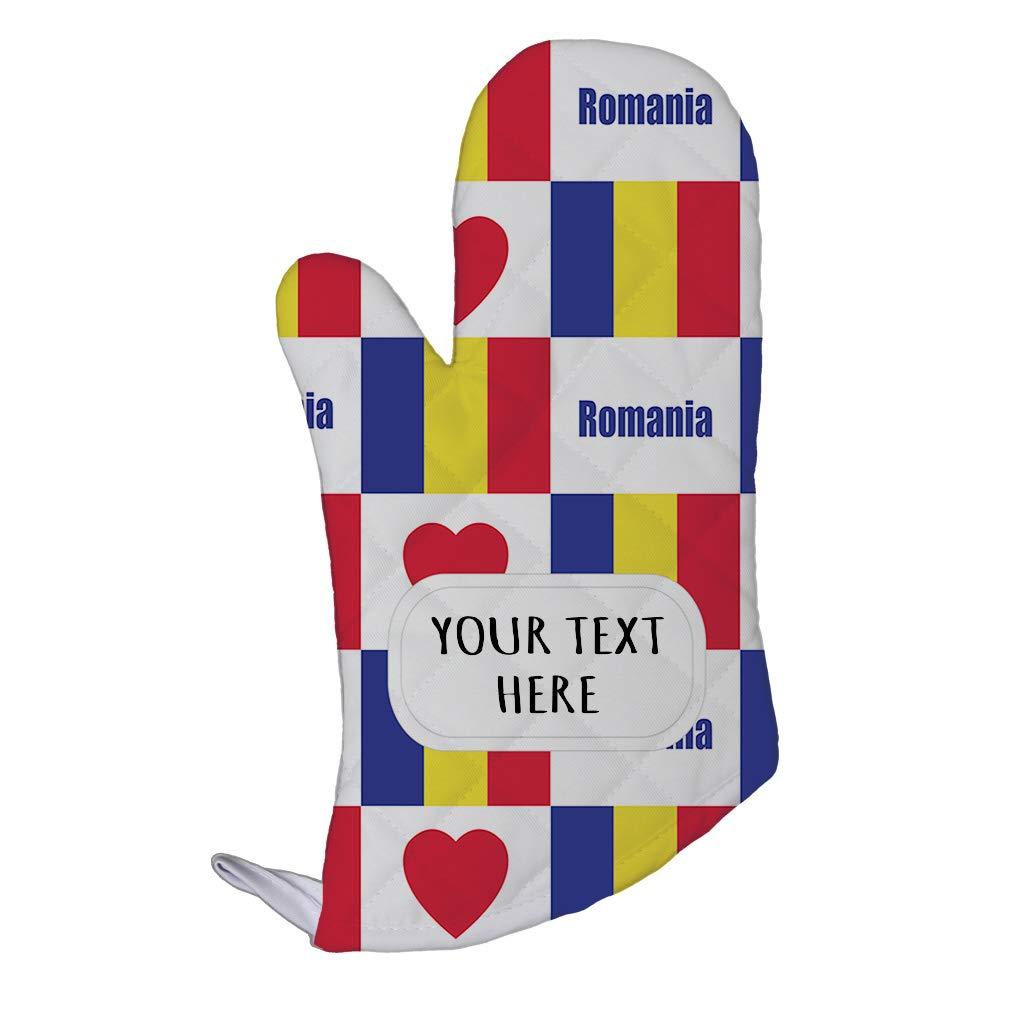 Style In Print Polyester Oven Mitt Custom Romania Flag Heart Pattern Adults Kitchen Mittens
