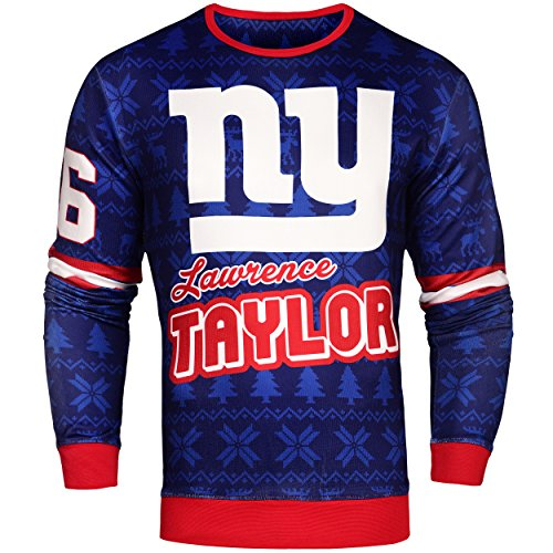 Forever Collectibles NFL Mens Retired Player Ugly Sweater, Lawrence Taylor New York Giants