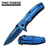 GIFTS INFINITY Free Engraving - Tac-Force Titanium Coated Stainless Steel Quality Pocket Knife (Blue)