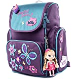 Delune Children's Backpack Waterproof and Large Capacity Orthopedic Schoolbag with 3D Cute Design Attach a Little Doll (Purple Butterfly)